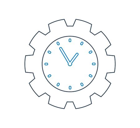 Time line Icon with Clock and gear symbol.