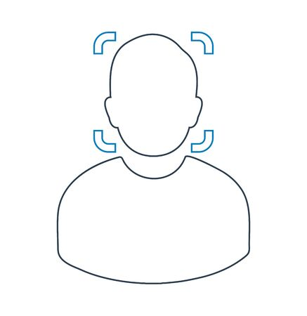Biometric Face Recognition line Icon. Editable vector EPS. Çizim
