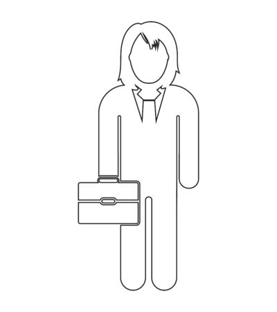 Businessman line Icon with briefcase on hand. Editable vector EPS.