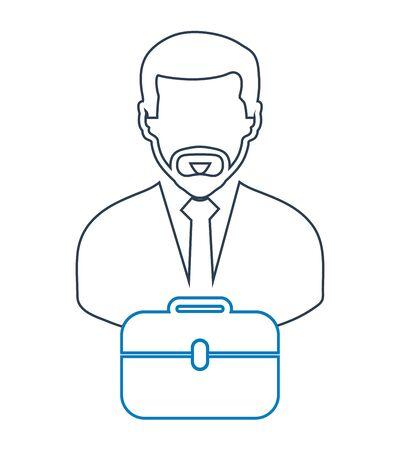 Businessman line Icon with briefcase symbol. Editable vector EPS. Illustration