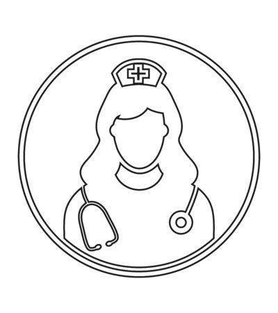 Nurse profile line Icon with circle shape.