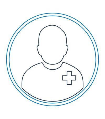 Male Patient profile line icon with circle shape.