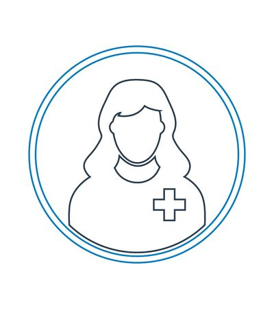 Female Patient profile line icon with circle shape.
