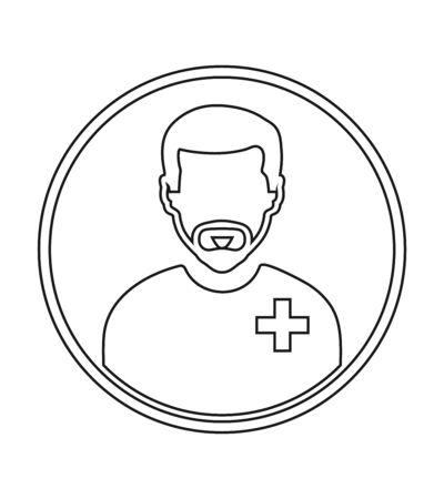 Male Patient profile line icon with circle shape. Çizim