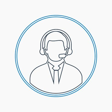 Call centre operator icon with headphone symbol. Line style vector EPS.