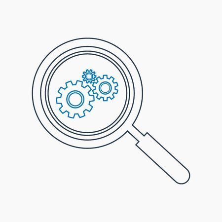 Search Settings Icon. Line style vector EPS. Illustration