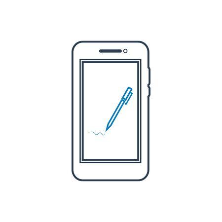Digital Signature line Icon. Editable vector EPS.