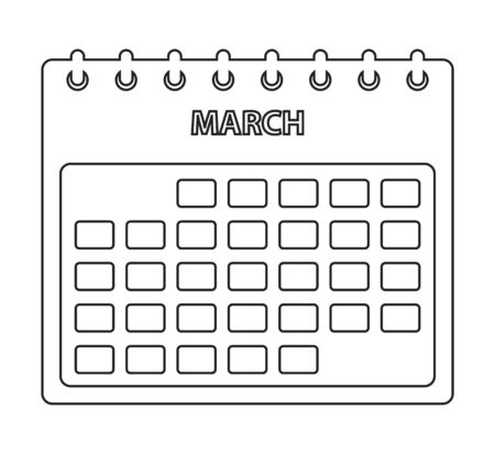 March Calendar line Icon. Editable vector EPS.