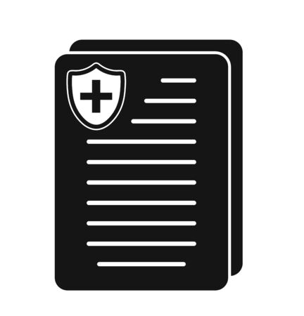 Medical and healthcare insurance icon. Flat style vector EPS. Illustration