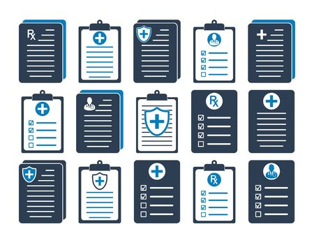 Medical Report and Patient Record Icon set. Flat style vector EPS.