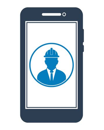 Online Engineering Service Icon. Male Symbol on mobile screen. Flat style vector PES.