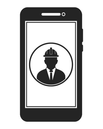 Online Engineering Service Icon. Male Symbol on mobile screen. Flat style vector PES. Vektorové ilustrace