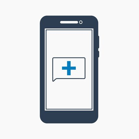 Online healthcare icon. Flat style vector EPS.