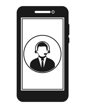 Icône du service client en ligne. Vecteur de style plat EPS. Vecteurs
