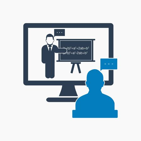 Online learning icon. Flat style vector EPS. Stock Illustratie