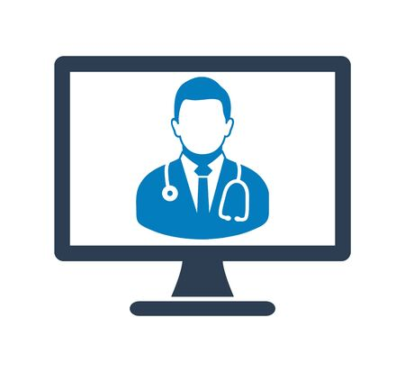 Online Doctor Icon. Flat style vector EPS.