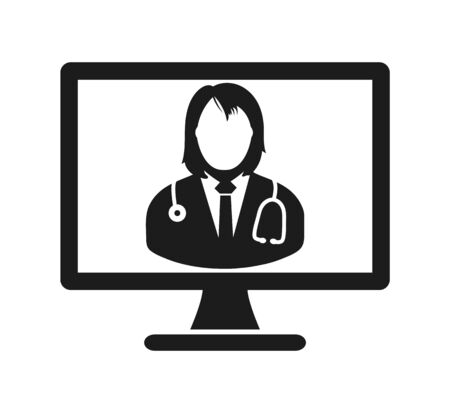 Online Medical Help Icon. Flat style vector EPS. 向量圖像
