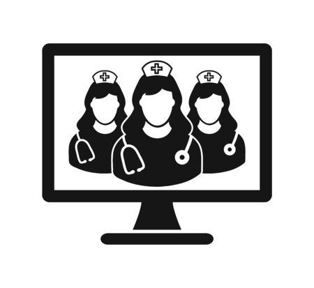Online Nursing Help Icon. Flat style vector. Çizim