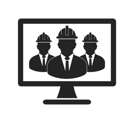 Online Engineering Team Icon. Flat style vector.