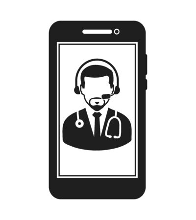 Online Medical consultant icon. Flat style vector EPS.