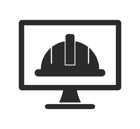 Worker Helmet Icon on Computer Monitor. Flat style vector EPS. 向量圖像