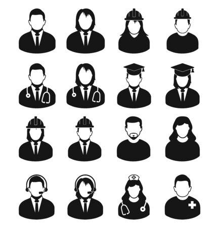 Conjunto de iconos de perfil de personas de diferentes profesiones. Hombre corporativo, estudiante de posgrado, servicio al cliente, médico, enfermera, ingeniero, etc.