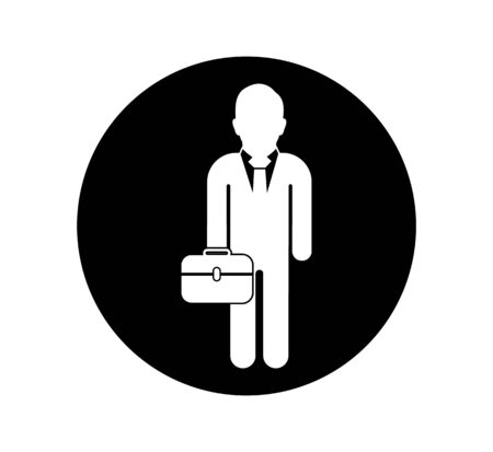Business man Icon with briefcase. Button style vector EPS. Illustration