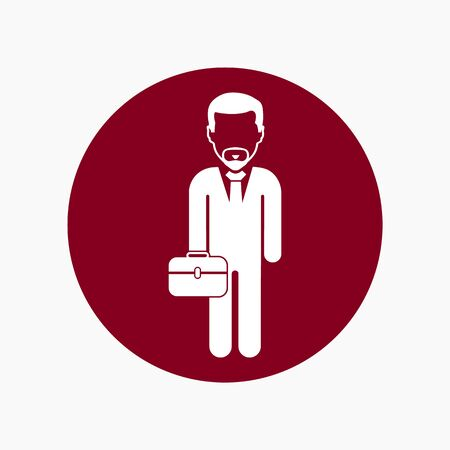 Business man Icon with briefcase. Colorful Button style vector EPS.