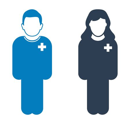Standing Male and Female Patient Icon. Flat style vector EPS. Çizim