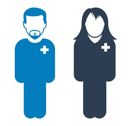 Standing Male and Female Patient Icon. Flat style vector EPS. 向量圖像