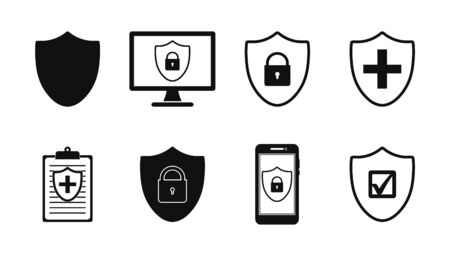 Shield Icon set. Flat style vector EPS.
