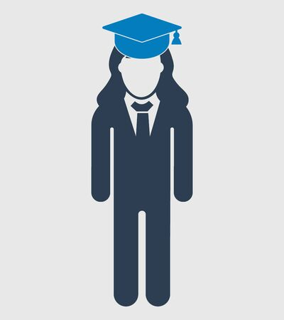 Graduate Student Icon. Standing Female symbol on gray background. Flat style vector EPS.