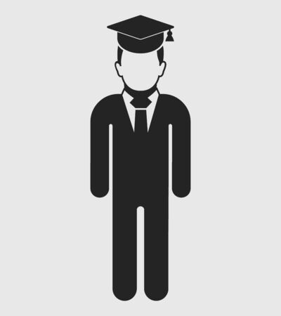 Graduate Student Icon. Standing male symbol on gray background. Flat style vector EPS.  Çizim
