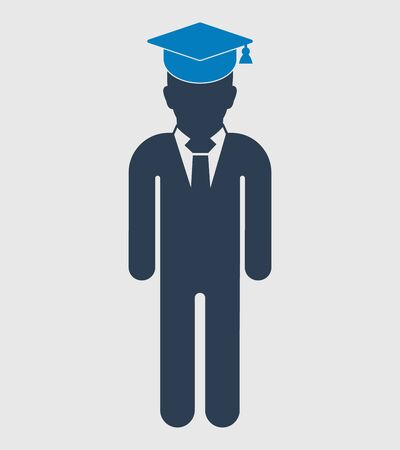 Graduate Student Icon. Standing male symbol on gray background. Flat style vector EPS.  Иллюстрация