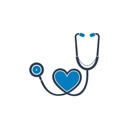 Stethoscope Icon with heart symbol. Flat style vector EPS. Illustration