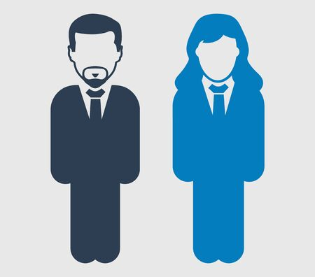 Corporate couple Icon. Standing Male and female businessman symbol on gray background. Flat style vector EPS.