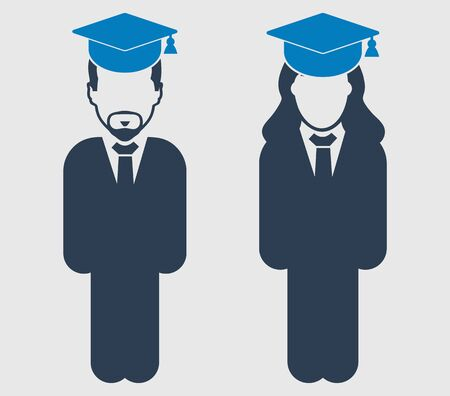 Graduate Student couple Icon. Standing Male and Female symbol on gray background.