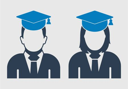 Graduate Student couple Icon. Male and Female symbol on gray background.