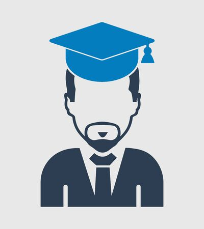 Male graduate student icon with gown and cap. Flat style vector EPS. Çizim
