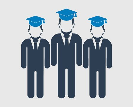 Graduate Student Team Icon. Standing Male symbols with cap on head. Flat style vector EPS. Vectores