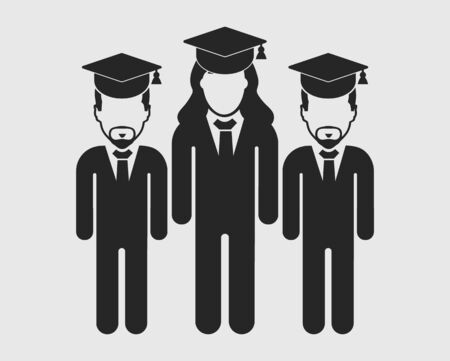 Graduate Student Team Icon.Standing Male and female symbols with cap on head. Flat style vector EPS. Vectores