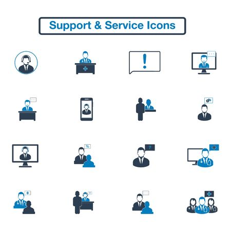 Support and Service Icon Set. Flat style vector EPS.  イラスト・ベクター素材