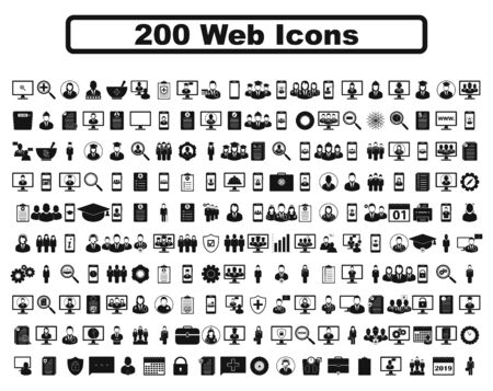 200 web icon set. Flat style vector EPS. 向量圖像