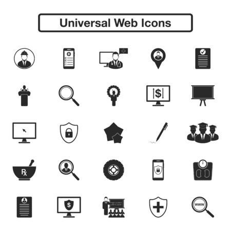 Universal Web Icon Set. Flat style vector EPS. Vectores