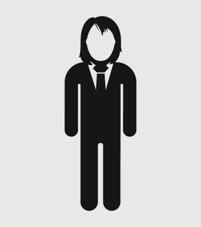 Standing Corporate Woman Icon. Flat style vector EPS. Ilustrace
