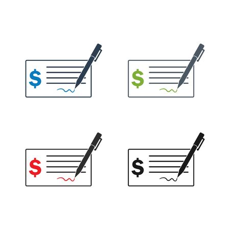 Bank Cheque Icon set. Flat style vector EPS. Illustration