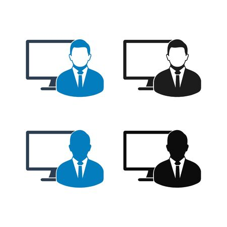 Computer User Icon set. Flat style vector EPS. Ilustrace