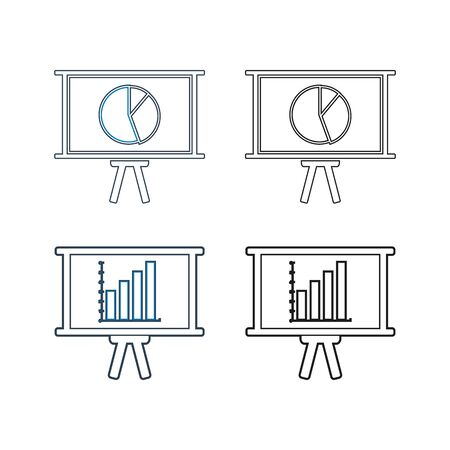 Business presentation line icon set. Vector EPS.