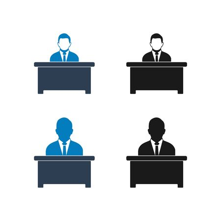 Business Manager Icon Set. Flat Style vector EPS. Ilustrace