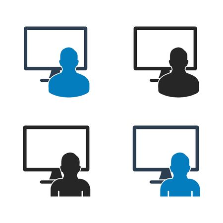 Computer user icon set. Flat style vector EPS.